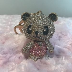 Blinged out Bear Keychain in Soft Pink